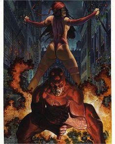 Y'all mind if I... respect women Art by @simonebianchiart  #Daredevil #Elektra #Marvel #MarvelComics #Comics #ConceptArt #Art #Artist #Superhero