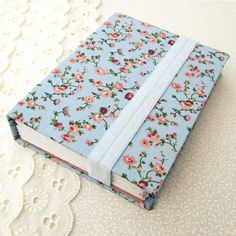 Vintage Floral Journal -  Blank Hardcover Notebook in Pastel Blue by LittleLivingstone