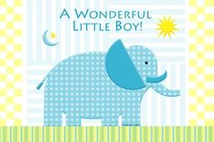 A delightful blue and white elephant is the perfect baby birth announcements card for your new baby boy.