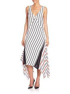 Tome Striped Silk Handkerchief Dress - White Combo - Size 6