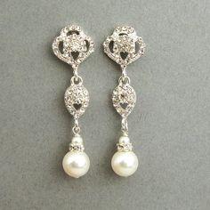 Swarovski Crystal and Pearl Bridal Earrings Vintage by luxedeluxe, $42.00