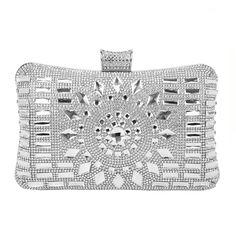 d7a0ab98a3 Women s Diamante Evening Clutch Wedding Clutch Purse Bridal Prom Handbag  Party Bag - Silver - CJ184EXWYMG