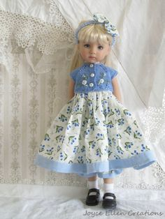 "13"" Effner Little Darling,BJD blue & white 5 pc set OOAK handmade by JEC"
