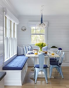 "Beach Cottage with Crisp and Fresh Coastal Interiors - ""Kitchen Nook Banquette"" - Interior Design Fans Dining Nook, Dining Room Design, Beach Dining Room, Nook Table, Dining Sets, Dinning Table Bench, Dining Table With Storage, Design Room, Breakfast Nook Bench"