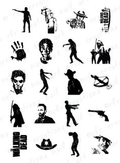 20-NAIL-DECALS-WALKING-DEAD-Silhouette-Asst-WATER-SLIDE-NAIL-DECALS-ZOMBIES