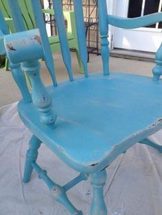 Take A Seat In Your Happy Place {my brilliant friends week} Distressed Chair, Distressed Furniture, Painted Furniture, Repurposed Furniture, Antique Wooden Chairs, Painted Dining Chairs, Furniture Projects, Furniture Makeover, Furniture Refinishing