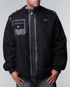 Shops Indiaviolet - Buy From The Best: Rocawear Men Faux Leather Detail Wool Jacket (B) - Outerwear,$85.99