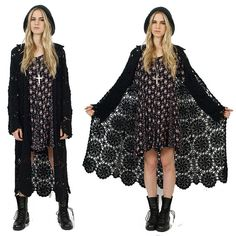 Black CROCHET Sheer Knit Long Duster Hippie Boho 80's 90's Cardigan Sweater S/M