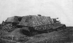 Two knocked out Panzerjäger Tiger(P) « Ferdinand » from HQ company of 654 s.Pz.Jager Abt. Kursk 1943