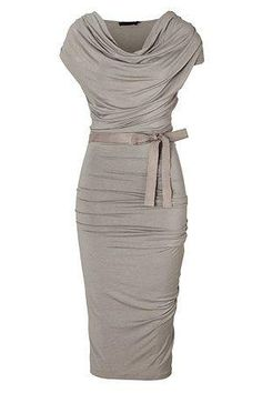 Mother of the Bride- Figure Flattering Knee Length Draped Dress with Belt