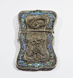 1800s Antique Chinese Export Filigree Silver and Enamel Card Case Box Dragon   eBay