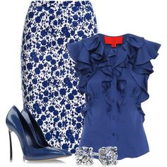 """""""Blue Floral"""" Things to wear Classy Work Outfits, Cool Outfits, Casual Outfits, Casual Attire, Work Fashion, Skirt Fashion, Fashion Dresses, Blue Skirt Outfits, Professional Outfits"""