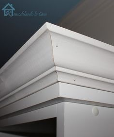 How to add crown molding to plain bookcases