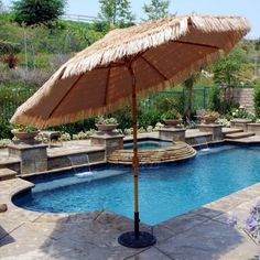 Galtech 9-ft. Aluminum Bamboo Patio Umbrella
