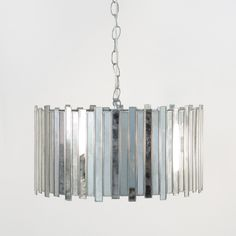 Worlds Away Antique Mirror Faceted Pendant