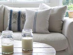 goal for weekend includes finishing two of these grain sack pillows. would look great on back room wicker couch Wicker Dresser, Wicker Couch, Wicker Trunk, Wicker Shelf, Wicker Headboard, Wicker Bedroom, Wicker Table, Wood Nightstand, Wicker Furniture