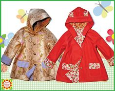 NEW! Hooded Childrens Coat Sewing PDF Pattern  Sizes 18months-10 years    Features: Adorable Raglan coat that every girl would enjoy wearing