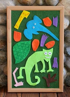 Free patterns for felt board mixed up chameleon