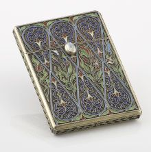Silver Holloware, Continental:Holloware, A RUSSIAN SILVER GILT AND CLOISONN� ENAMEL CARD CASE.Aleksandr Petrov, St. Petersburg, Russia, 1899-1908. Marks...