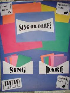 "Sing or Dare: ""Sing"" cards like ""sing [the song] while marching the beat"" or ""sing the song, but buzz all the words 'the'."" ""Dare"" cards musical things like ""sightread a simple song"" or ""play the melody on the xylophone. Primary Songs, Primary Singing Time, Lds Primary, Primary Lessons, Sight Singing, Primary Program, Disco Party, Neon Party, Primary Chorister"