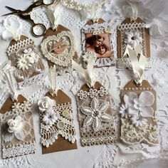 I had a creative afternoon yesterday making those little lace tags✂️ I am kind of satisfied that those simple tags turned to be like… - Pin Coffee Shabby Chic Crafts, Vintage Crafts, Card Tags, Gift Tags, Fabric Crafts, Paper Crafts, Fabric Journals, Handmade Tags, Paper Tags