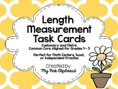 These task cards are the perfect tool for students to use in order to practice a wide variety of measurement concepts including: converting between inches, feet, yards, and miles; converting between kilometers, meters, centimeters, and millimeters; solving multi-step word problems and more!Task cards can easily be used in a math center or a fun game of Scoot!