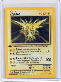 #pokemon **GERMAN** 1ST EDITION Pokemon ZAPDOS HOLO HOLOGRAM FOIL rare 16/102* BASE please retweet