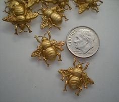 12 small brass bumblebee charms by TimeAndMaterials on Etsy