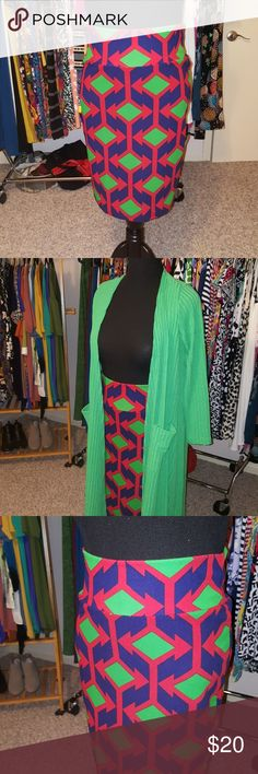 Lularoe Cassie Large Navy, green and red! So great for Summer ???? Green Duster is available separately. LuLaRoe Skirts Midi