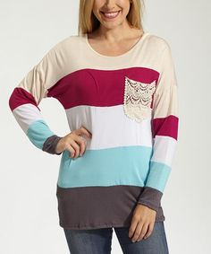 Look what I found on #zulily! Magenta & Cream Stripe Crochet-Pocket Top #zulilyfinds