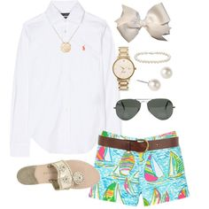 Southern Prep by classically-preppy on Polyvore featuring Ralph Lauren, Lilly Pulitzer, Jack Rogers, Kate Spade, Givenchy, Blue Nile, Ginette NY, Ray-Ban, Warehouse and nautical