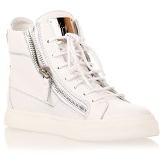 Giuseppe Zanotti White Leather High-Top Sneaker found on Polyvore