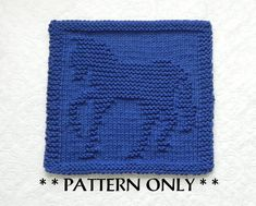 HORSE Knit Pattern - PDF Instant Download - Knit Dishcloth Pattern, Knit Wash Cloth Pattern, Easy Knitting Pattern