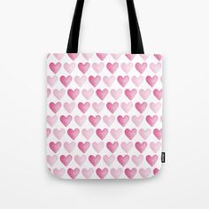Pink Watercolour Hearts Tote Bag - surface pattern design by Hazel Fisher Creations. Available from Society6, hand sewn in America.