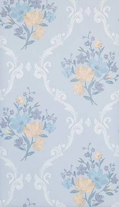 Almudaina Wallpaper in Light Blue from the Deya Collection by Matthew Williamson