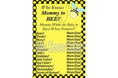 Baby Shower Game Bumble Bee Baby Shower Game by BabyShowerBakery, $5.00