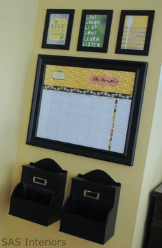"Central Command Center: DIY dry erase calendar, framed ""art"", & mail boxes"