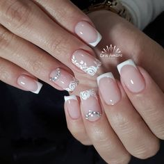 23 ideias de unhas lindas decoradas polish in 2019 ногти. French Manicure Nails, Manicure Y Pedicure, French Tip Nails, Beauty Spa, Beauty Nails, Hair Beauty, Wedding Manicure, Wedding Makeup, Nailart