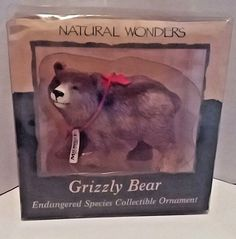 Grizzly Bear Midwest Brand Natural Wonders Collectible Ornament  #Midwest Snowman Christmas Ornaments, Christmas Hearts, Old World Christmas, Christmas Mom, Christmas Items, Christmas Shopping, Carlton Cards, Wood Bird, Handmade Ornaments