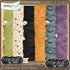 All Hallows Eve Worn and Torn Papers :: Gotta Pixel Digital Scrapbook Store   $2.99