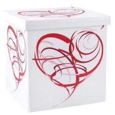 tirelire blanche coeur design géante 30 cm mariage et fête, tirelire blanche(urne) coeur design rouge en carton glacé