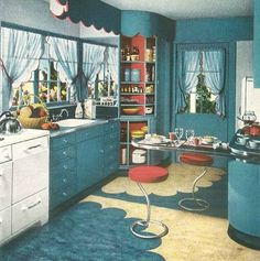 1940s kitchen. Blue with red accents.  My great Aunt Martha's kitchen had this floor!  The blue in hers was more royal blue and the cream was yellow.  I loved that kitchen.