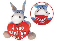 CIUCCIO LOVE ZIP E'CCHIU' FORT' 'E  Peluche asinello Forza Napoli con cuore rosso con scritta -bocca con zip con la scritta Ti amo