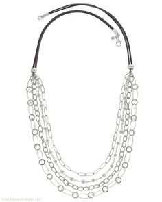 Everlasting Necklace - Various chains hang on a Suede Cord. Cubic Zirconia, Sterling Silver.
