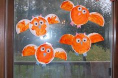 Halloween Kids Craft: Flying Owls                 Supplies Needed:    2 Paper Plates for Each Owl    Orange paint    2 Googly Eyes for Each Owl  Constru...