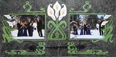 Black Wedding Scrapbook Page - The Wedding Party- 2 page layout with calla lilies - from Wedding Album 1