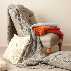 Alicia Adams Chunky Knit Pillow Covers & Blankets - Made of premium baby alpaca wool from her own farm in New York's Hudson Valley, Alicia Adams' pillows and throws are amazingly soft and naturally long-lasting.