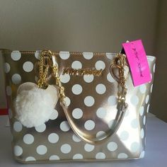 "SALE ♥ Betsey Johnson All That Jazz Gold Dot Tote Measurements 9.5"" x 11.5"" x 5"" ♥ Cutest Betsey Johnson ♥ Betsey Johnson Bags Totes"