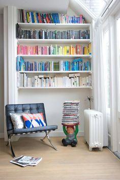 Classic chair Barcelona. Funny gnome bookstand.