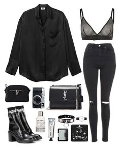 """black silk"" by millicent4 ❤ liked on Polyvore featuring Topshop, Wolford, rag & bone, Yves Saint Laurent, Fujifilm, Le Labo, L:A Bruket and NARS Cosmetics"
